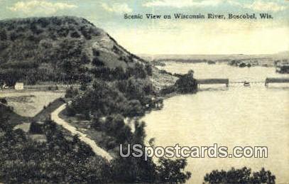 Wisconsin River - Boscobel Postcard