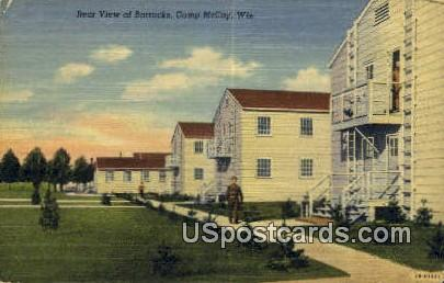 Rear view of Barracks - Camp McCoy, Wisconsin WI Postcard