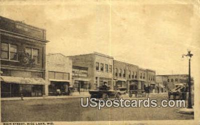 Main Street - Rice Lake, Wisconsin WI Postcard