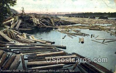 Chippewa Falls - Chippewa River, Wisconsin WI Postcard