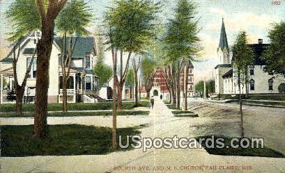 Fourth Ave, ME Church - Eau Claire, Wisconsin WI Postcard