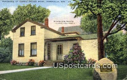 Residence of Carrie Jacobs Bond - Janesville, Wisconsin WI Postcard
