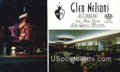 Glen Nelson's Restaurant - Lake Geneva, Wisconsin WI Postcard