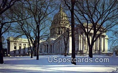 Winter in Capitoland - Madison, Wisconsin WI Postcard