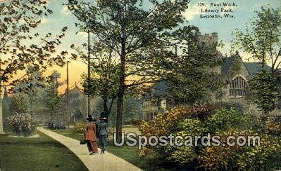East Walk, Library Park - Kenosha, Wisconsin WI Postcard