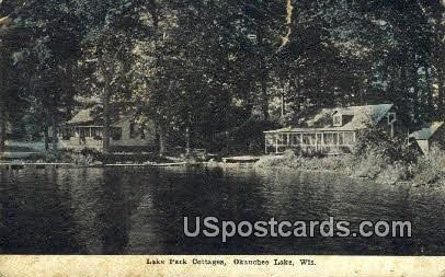 Lake Park Cottages - Okauchee Lake, Wisconsin WI Postcard