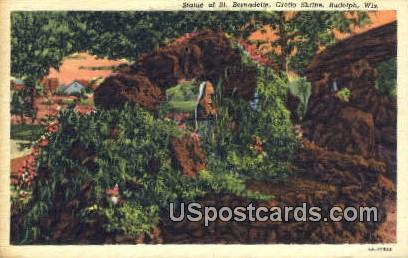 Statue of St Bernadett, Grotto Shrine - Rudolph, Wisconsin WI Postcard