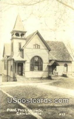 First Pres Church, Real Photo - Cambria, Wisconsin WI Postcard