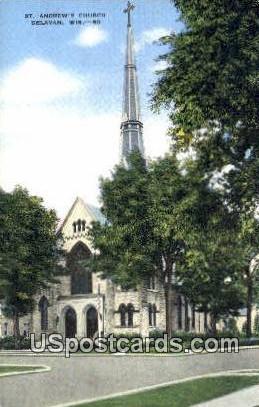St Andrew's Church - Delavan, Wisconsin WI Postcard