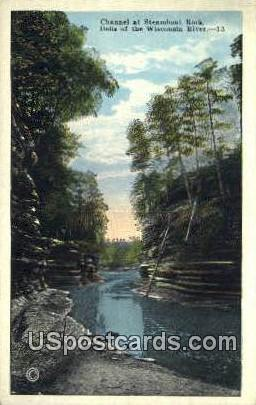 Channel, Steamboat Rock - Dells Of The Wisconsin River Postcards, Wisconsin WI Postcard