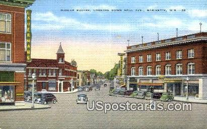Dunlap Square, Hall Ave - Marinette, Wisconsin WI Postcard