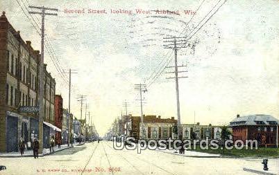 Second Street - Ashland, Wisconsin WI Postcard
