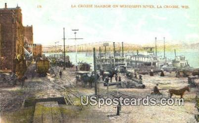 La Crosse Harbor, Mississippi River - Wisconsin WI Postcard
