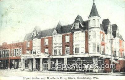 Hotel Stolte & Mueller's Drug Store - Reedsburg, Wisconsin WI Postcard