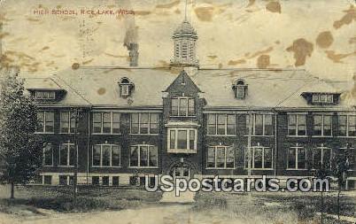 High School, Rice Lake - Wisconsin WI Postcard