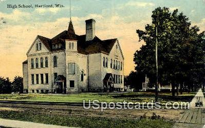 High School, Hartford - Wisconsin WI Postcard