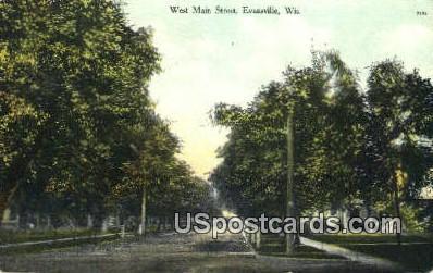 West Main Street - Evansville, Wisconsin WI Postcard