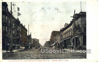 Washington Street, Main Street - Green Bay, Wisconsin WI Postcard