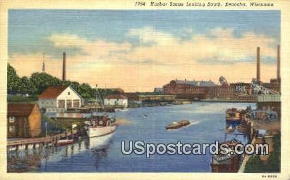 Harbor Scene, South - Kenosha, Wisconsin WI Postcard
