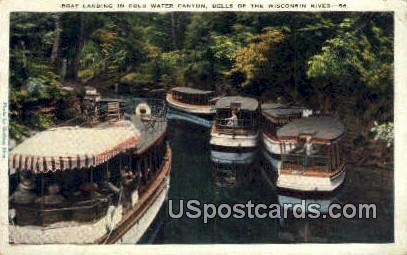 Boat Landing, Cold Water Canyon - Dells Of The Wisconsin River Postcards, Wisconsin WI Postcard