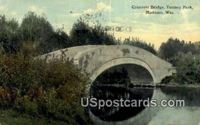 Concrete Bridge, Tenney Park - Madison, Wisconsin WI Postcard