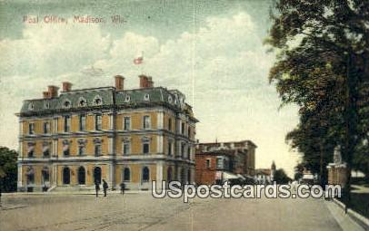 Post Office - Madison, Wisconsin WI Postcard