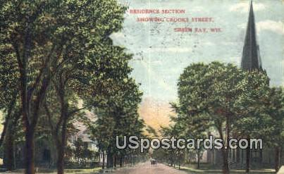 Residence Section, Crooks Street - Green Bay, Wisconsin WI Postcard