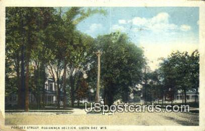 Porlier Street, Residence Section - Green Bay, Wisconsin WI Postcard