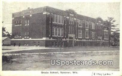 Grade School, Spooner - Wisconsin WI Postcard