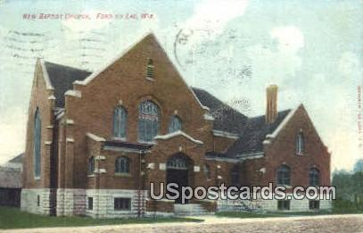 New Baptist Church - Fond du Lac, Wisconsin WI Postcard