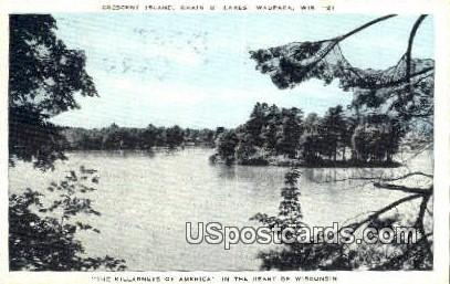 Crescent Island, Chain O' Lakes - Waupaca, Wisconsin WI Postcard