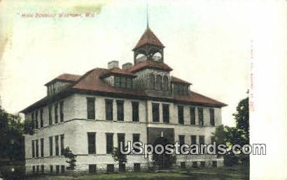 High School - Wautoma, Wisconsin WI Postcard