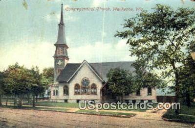 Congregational Church - Waukesha, Wisconsin WI Postcard