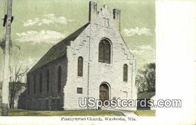 Presbyterian Church - Waukesha, Wisconsin WI Postcard