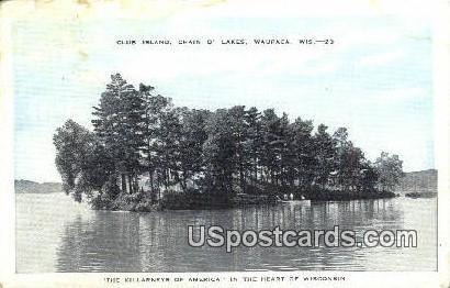 Club Island, Chain O'Lakes - Waupaca, Wisconsin WI Postcard