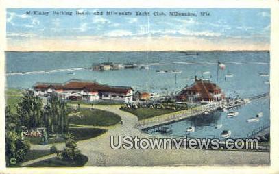 McKinley Bathing Beach, Yacht Club - MIlwaukee, Wisconsin WI Postcard