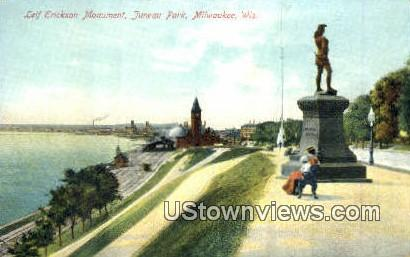 Leif Erickson Monument, Juneau Park - MIlwaukee, Wisconsin WI Postcard