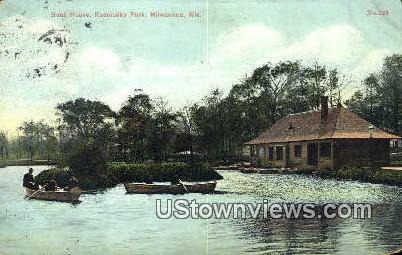 Boat House, Kosclusko Park - MIlwaukee, Wisconsin WI Postcard