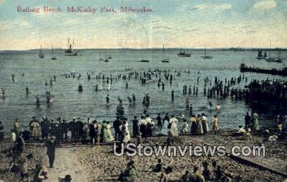 Bathing Beach, McKinley Park - MIlwaukee, Wisconsin WI Postcard