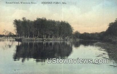 Second Island, Wisconsin River - Stevens Point Postcard