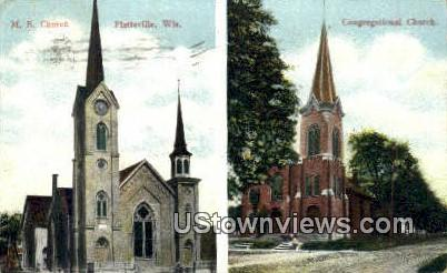 ME Church, Congregational Church - Platteville, Wisconsin WI Postcard