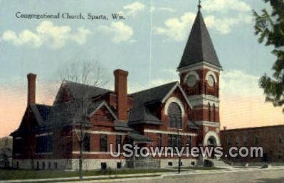 Congregational Church - Sparta, Wisconsin WI Postcard