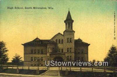 High School, South Milwaukee - Wisconsin WI Postcard