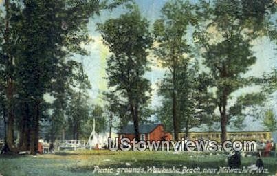 Picnic Grounds, Waukesha Beach - MIlwaukee, Wisconsin WI Postcard