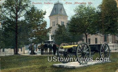 Fountain, Soldiers Home - MIlwaukee, Wisconsin WI Postcard