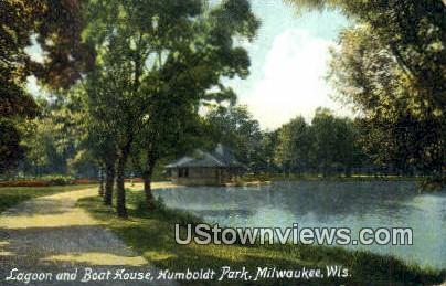 Lagoon & Boat House, Humboldt Park - MIlwaukee, Wisconsin WI Postcard