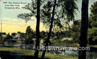 Yahara River, City Park - Stoughton, Wisconsin WI Postcard