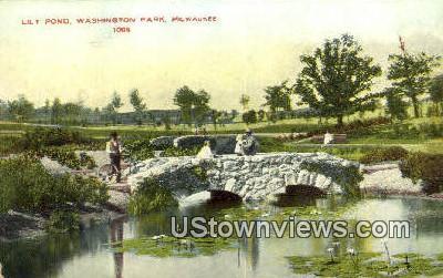 Lily Pond, Washington Park - MIlwaukee, Wisconsin WI Postcard