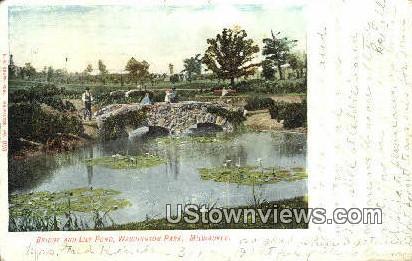 Bridge & Lily Pond, Washington Park - MIlwaukee, Wisconsin WI Postcard