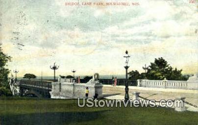 Bridge, Lake Park - MIlwaukee, Wisconsin WI Postcard